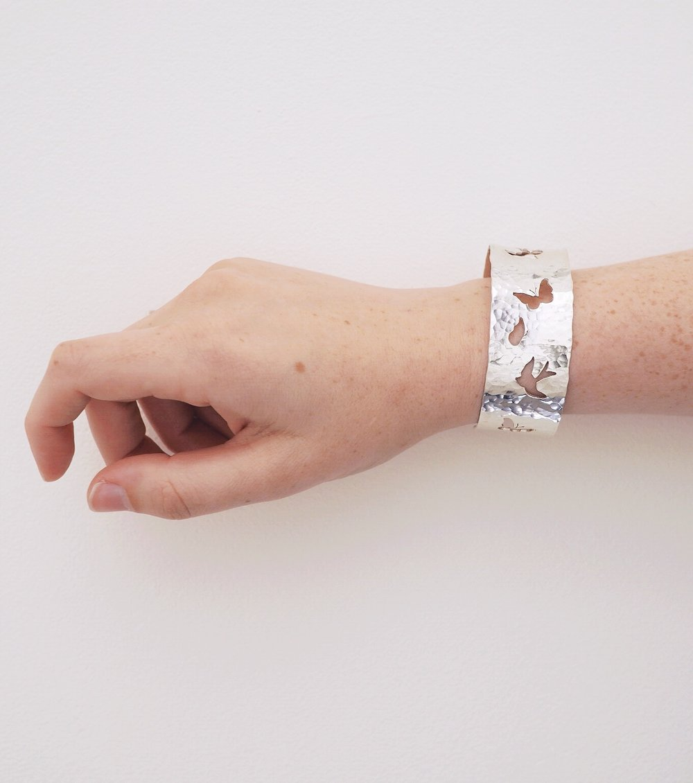 Kate Wainwright Jewellery Silver Silver Swallow and Butterfly Bangle Cuff
