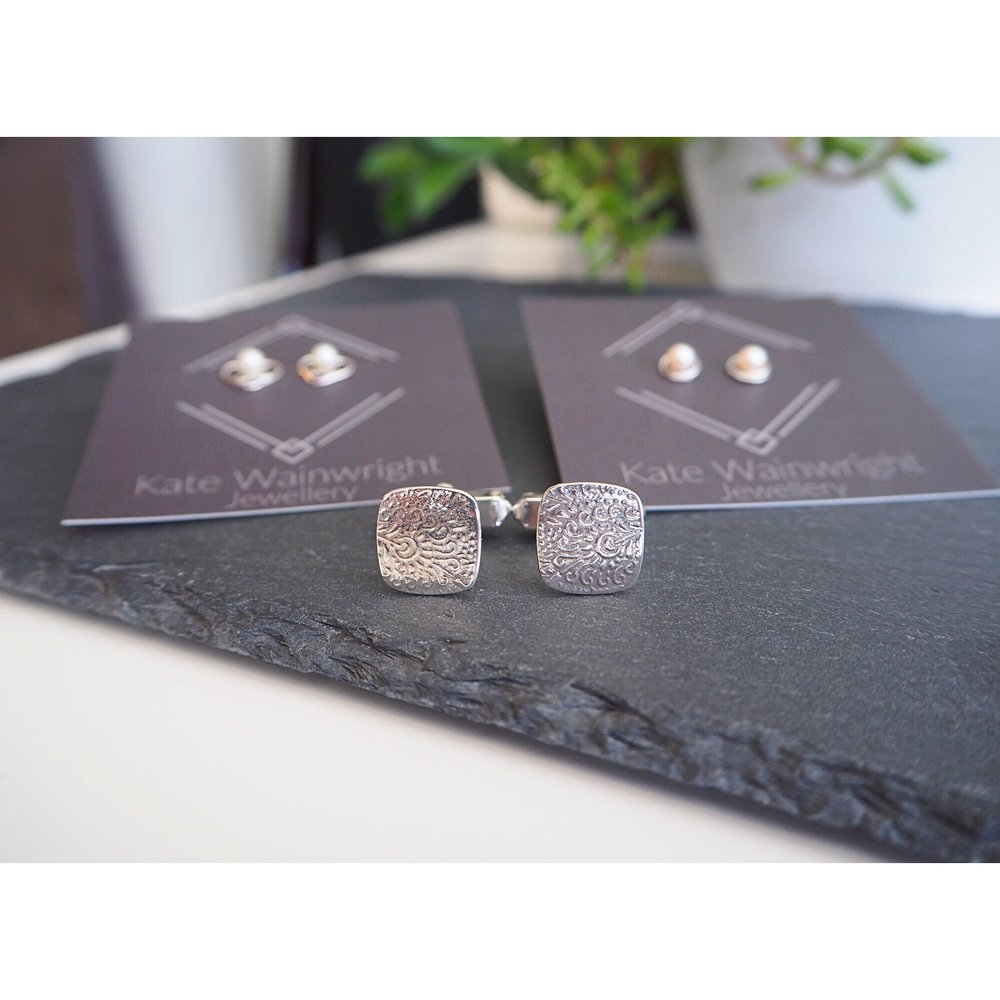 Kate Wainwright Jewellery | Silver and pearl wedding studs | Paisley wedding cufflinks