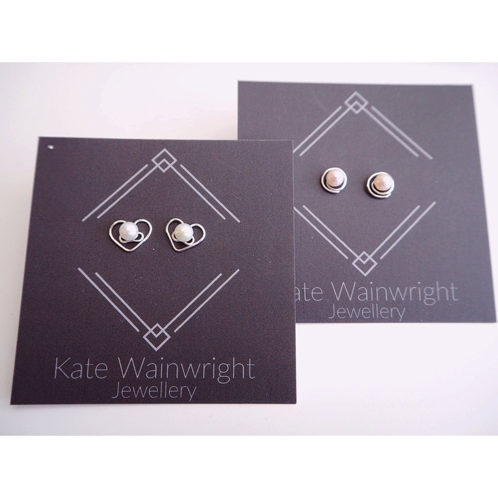 Silver and Pearl Wedding Studs