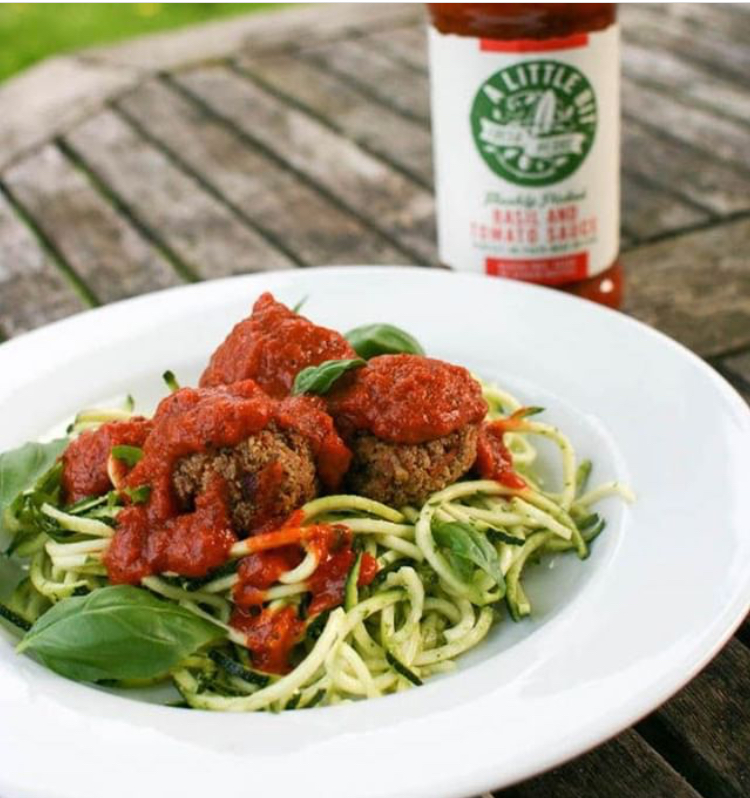 Tofu & walnut meatless balls with our Basil & Tomato sauce