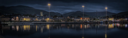 Dingle Harbour on possibly the calmest evening I have ever enjoyed.  10 image stitched panorama