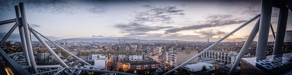 An 8 image, stitched panorama of the view across the city