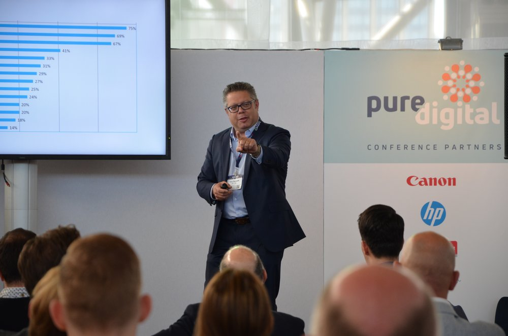 Terry Raghunath speaking at the Pure Digital Conference 2018