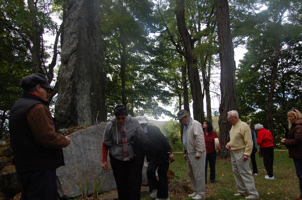 """Sounding Mohican Pathways"" Participants honoring Indian burial ground in Stockbridge, MA"