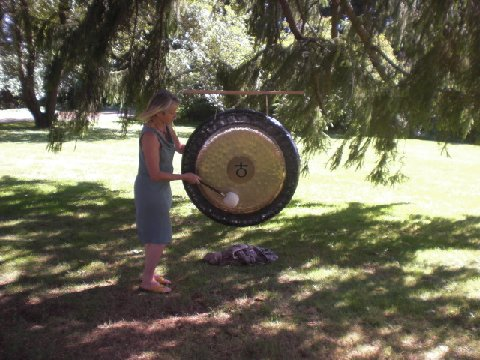 "Elfie Six offering the sound of the Earth Gong at ""Melville, Mumbet and Mohicans"" photo: JoAnne Spies"