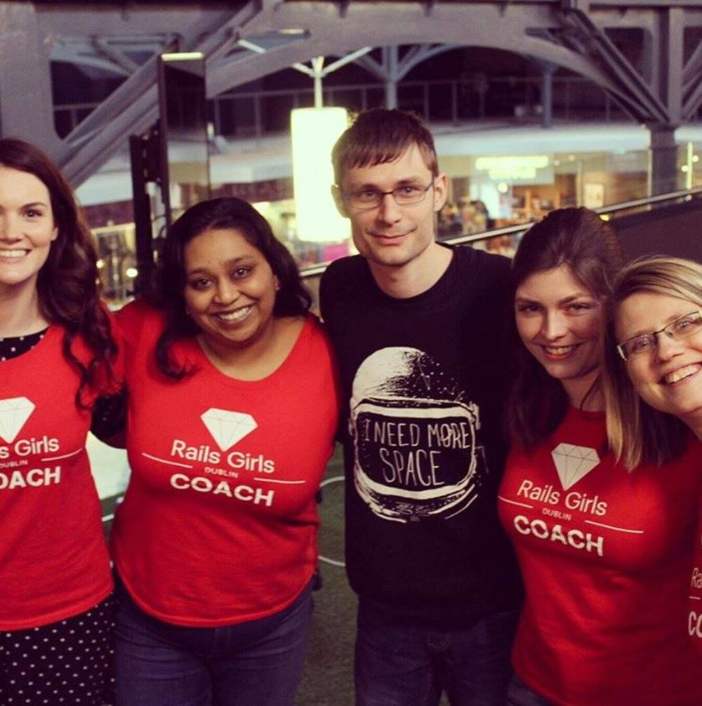 Co-Organized Rails Girls Dublin - Rails Girls Dublin 2017 is one of my proudest moments (weekends). These fine folks in the photo are my co-organizers: Elaine O'Carroll, Sheeka Patak, Wojtek Borowicz and Serena Fritsch.I have done lightning talks, Coached and led workshops with Rails Girls for 4 years across many cities and am so glad I got to bring the magic to Dublin and help organize one myself.60 ladies spend 2 days learning the basics of Rails and programming in general. It's not just about the coding though. It's also about building a community with local meet-ups, expert programming Coaches and the attendees.