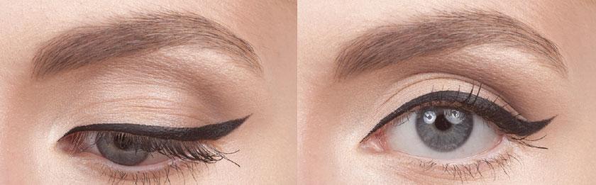 Glamour Liner – glamouröser Lidstrich - Diese korrigierende Lidstrichposition ist ideal für weit auseinanderstehende Augen, die näher zusammenstehend erscheinen und so optisch zusammenrücken sollen. Weiterhin wird auch hier der äußere Augenwinkel optisch gehoben. Obwohl diese Applikation sehr beliebt ist, ist sie nicht für Schlupflider geeignet, da die prominente Augenfalte die Form des Lidstrichs beeinflusst.1. Bereite deinen Cake Eyeliner (schwarz oder braun) mit deinem feuchten #100-Pinsel vor.2. Schaue gerade in den Spiegel und folge dem Verlauf deiner Lidfalte. Der geflügelte, äußere Schwung des Lidstrichs muss unterhalb der Lidfalte aufgetragen werden!3. Platziere die Pinselspitze in Richtung des höchsten Punktes des Flügels in einem 45°-Winkel. Ziehe nun den Pinsel zur äußeren Kante des Wimpernkranzes,um eine (ausgiebig) geneigte Linie zu erzeugen. Trage das Ganze ebenfalls am anderen Auge auf.4. Nun ziehe den Pinsel, mit der Pinselspitze in Richtung Tränendrüse –bis zur Augenmitte. Anschließend drehe den Pinsel in die entgegen gesetzte Richtung. Startend von der Flügelspitze und mit etwas Druck, erzeuge den kleinen Schwung, indem du den Pinsel zur Augenmitte gleiten lässt.5. Wiederhole diese Bewegung,bis du mit der Dicke zufrieden bist –dann wechsle zum anderen Auge.Für ein Ergebnis mit sanfteren Übergängen, kannst du am Ende die Kanten mit dem leicht angefeuchteten #210-Pinsel verblenden. Noch zurückhaltender wird es durch die Benutzung eines Eyeliner-Stiftes oder trockenen Lidschattens und dem #210-Pinsel. Hier kann am Ende auch noch eine Farbe aufgetragen werden, um den Effekt zu dämpfen.