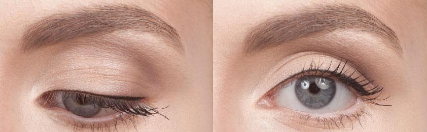 Straight Liner – gerader Lidstrich - Eine feine Linie betont die oberen Wimpern und folgt dem natürlichen Verlauf des Auges. Diese Form des Eyeliners hat keine korrigierenden Eigenschaften, sondern soll nur der Betonung des Auges dienen. Außerdem ist es eine gute Basis für die meisten anderen Formen von Eyeliner.1. Für einen schön definierten Eyeliner benutze den Cake Eyeliner in Black oder Brown mit dem #100-Pinsel von Make-up Designory.2. Feuchte den Pinsel an und lasse ihn im Cake Liner kreisen,bis du die perfekte Konsistenz erreicht hast. (Zu nass wird der Farbauftrag zu wässrig, zu trocken bröckelt die Farbe!)Zum Testen der Farbabgabe kannst du deinen Handrücken benutzen.3. Ziehe nicht an der Augenaußenkante, wenn du die Farbe aufträgst. Es entstehen sonst Falten beim Loslassen, durch die der Eyeliner uneben wirkt. Wenn nötig, ziehe die Haut der Augenbraue etwas hoch, um den Wimperkranz besser zu erreichen. Um die Farbe kontrollierter auftragen zu können, setze den Pinsel stets mit der Spitze in Richtung Trändendrüse flach auf dem Wimperkranz auf.4. Ziehe den Pinsel in Richtung Mitte des Auges.5. Drehe den Pinsel um und setze nun die Spitze flach in Richtung Augenaußenkante auf den Wimpernkranz. Führe den Pinsel von hier in Richtung Mitte des Auges, bis sich beide Linien treffen. Diese Technik kannst du für das Auftragen von Flüssig- und Gel-Eyelinern benutzen, ebenso wie zum Auftragen von feuchten Lidschatten. Um das Ergebnis weniger intensiv wirken zu lassen, benutze stattdessen einen angespitzten Eyeliner-Stift oder trockenen Lidschatten mit dem Pinsel #210.