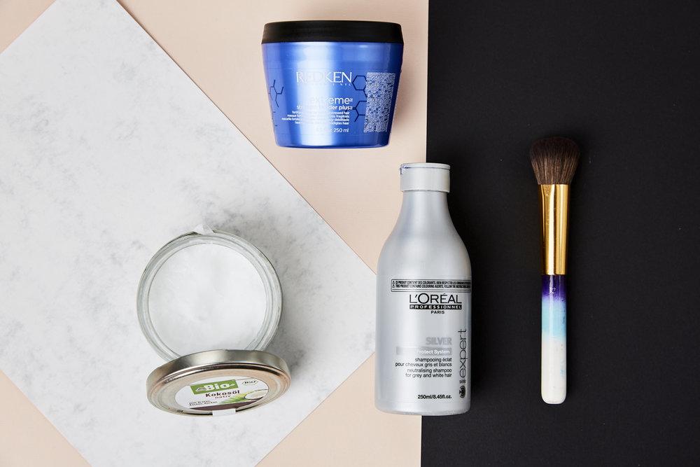 Roses Hair-Care Favorites: Bio Kokosöl, Redken Extreme Strengh Builder, L'Oréal Paris expert Silver Gloss Protect System, JACKS beauty line Foundationpinsel #12