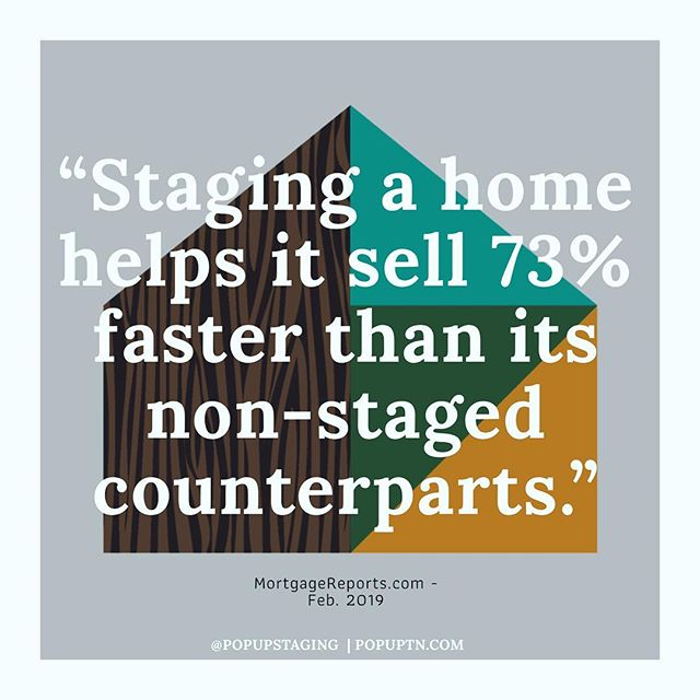 | Why Stage? | With the market crowding up, now's the perfect time to find out. Staging a home helps it sell 73% faster, on average, than its non-staged counterparts, according to @mortgagereports latest study. • • • We not only have our pulse on the entire Nashville market but specialize in bringing that fresh, modern style that homeowners pay top dollar for. Need some help with an upcoming listing? Give us a call!