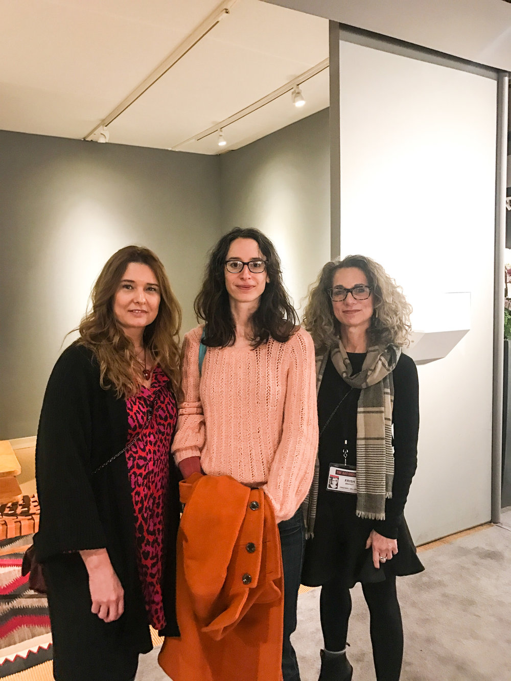 With artist Elisheva Biernoff and the founder of Freankel Gallery