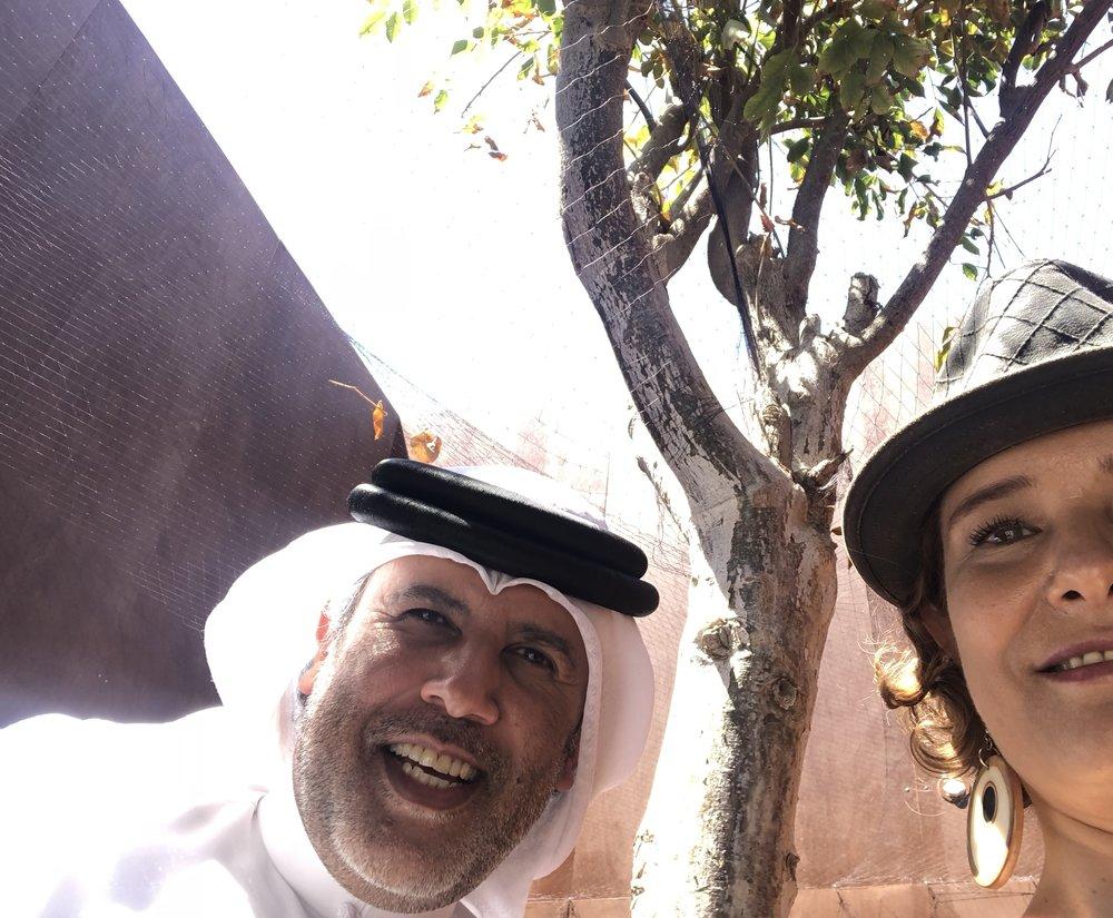 With Abdul Monem Al Serkal under the installation 'Under' by Hale Tenger