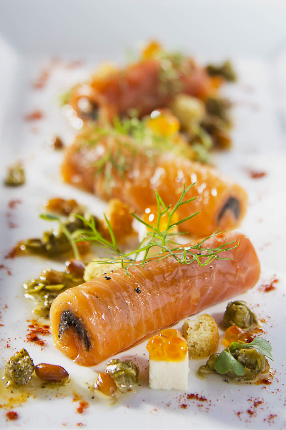 Salmon rolls at la Badiane fine dining | Hanoi Food Photographer