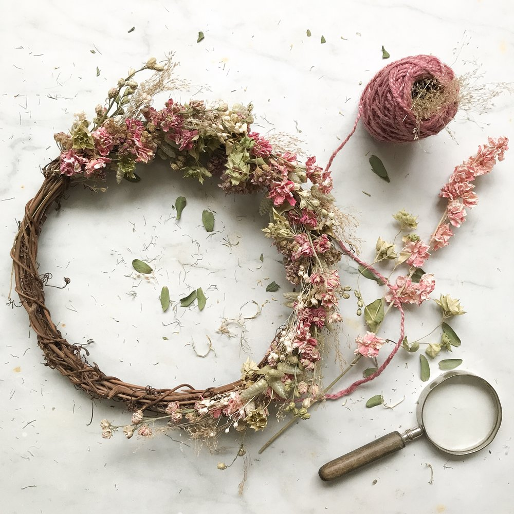 - Hand crafted dried flower wreaths availble upon request