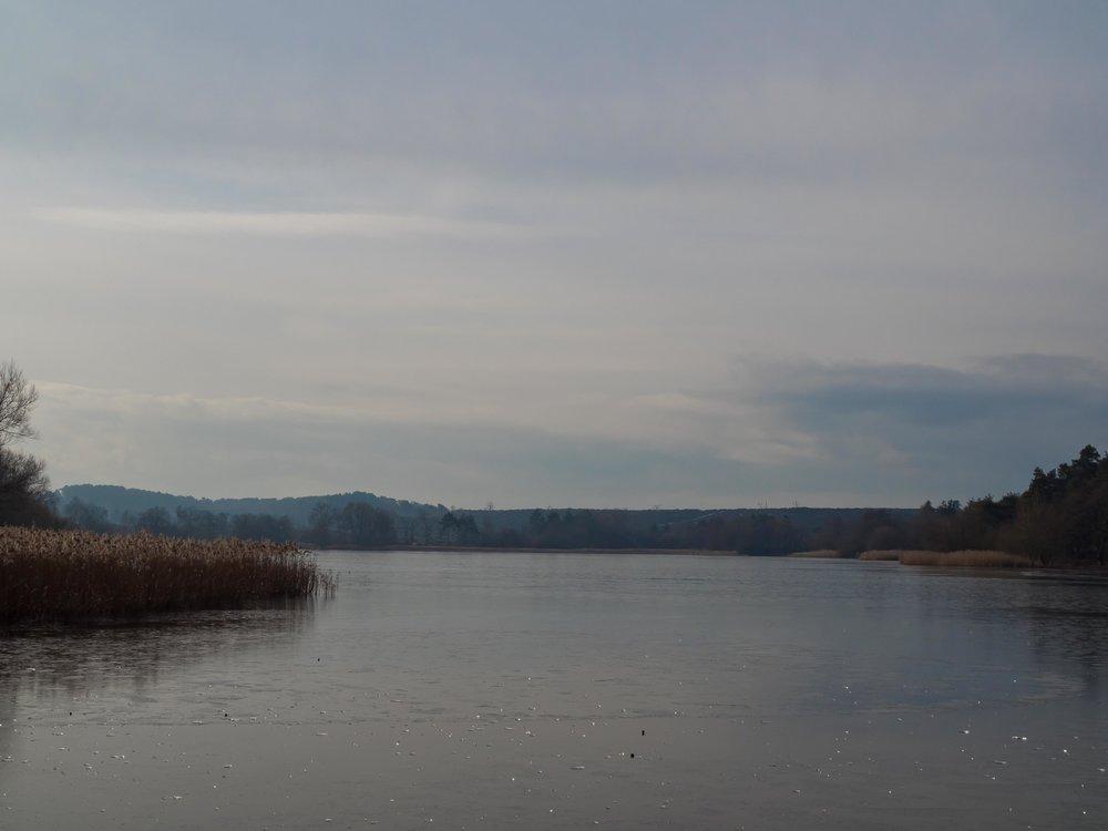 Frensham Ponds frozen Winter