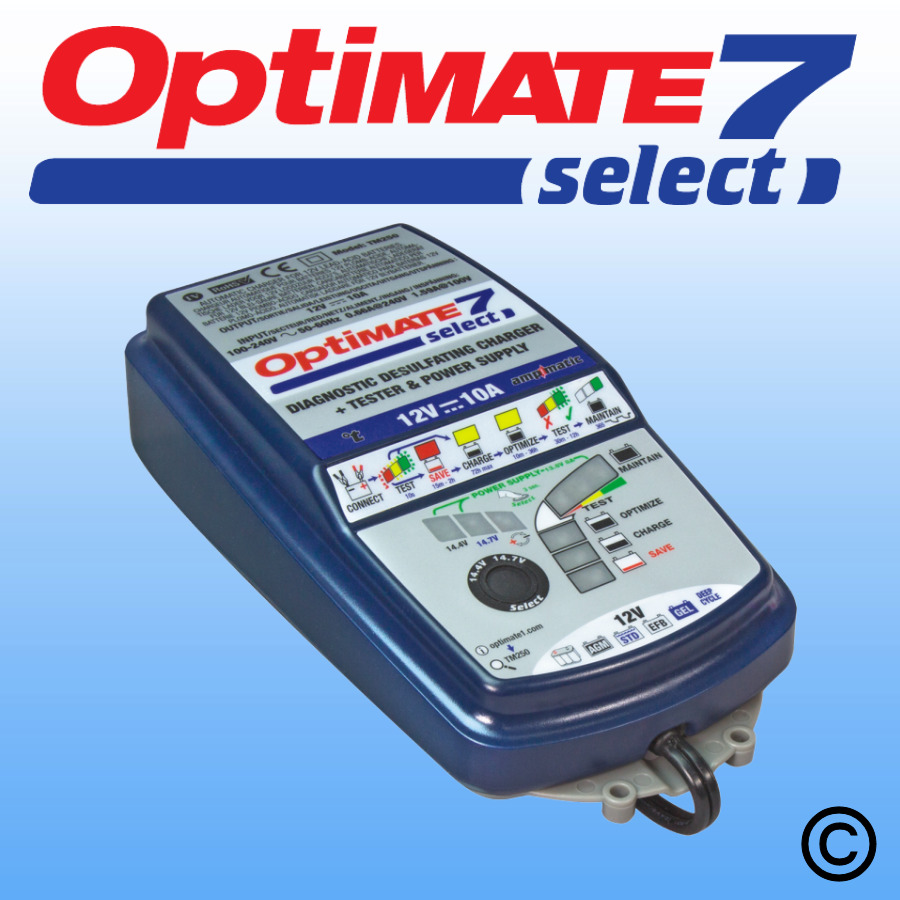 "OptiMate 7 Select - ""I purchased the OptiMate 7 Select in the end and wow what a battery charger. I would like to post a review.I have a 12 volt 500ah Trojan battery bank made up of four 6 volt batteries. It was about 8 years old and had served me well. It had been worked hard in an off grid environment. Recently the batteries quickly lost their ability to hold capacity. When put under a 200w load the voltage quickly dropped below 12 volts. I thought that was it for my £800 battery bank.I split the cells up into two 12v 250ah banks and left the OptiMate 7 Select on each one for 3 days on the 14.7v setting. I have now tested the batteries on very heavy loads and they are operating like normal. Amazing! 10 out of 10 for this charger.Thank you OptiMate team."" - Mark"