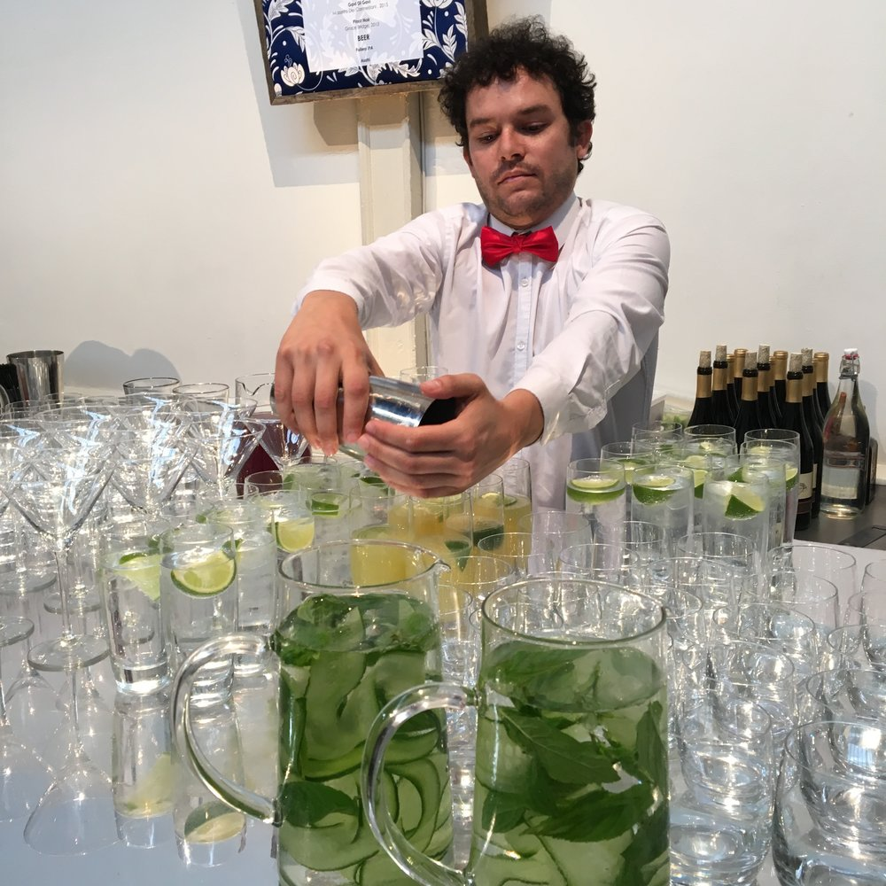 Bartender Remi prepping for a wedding reception