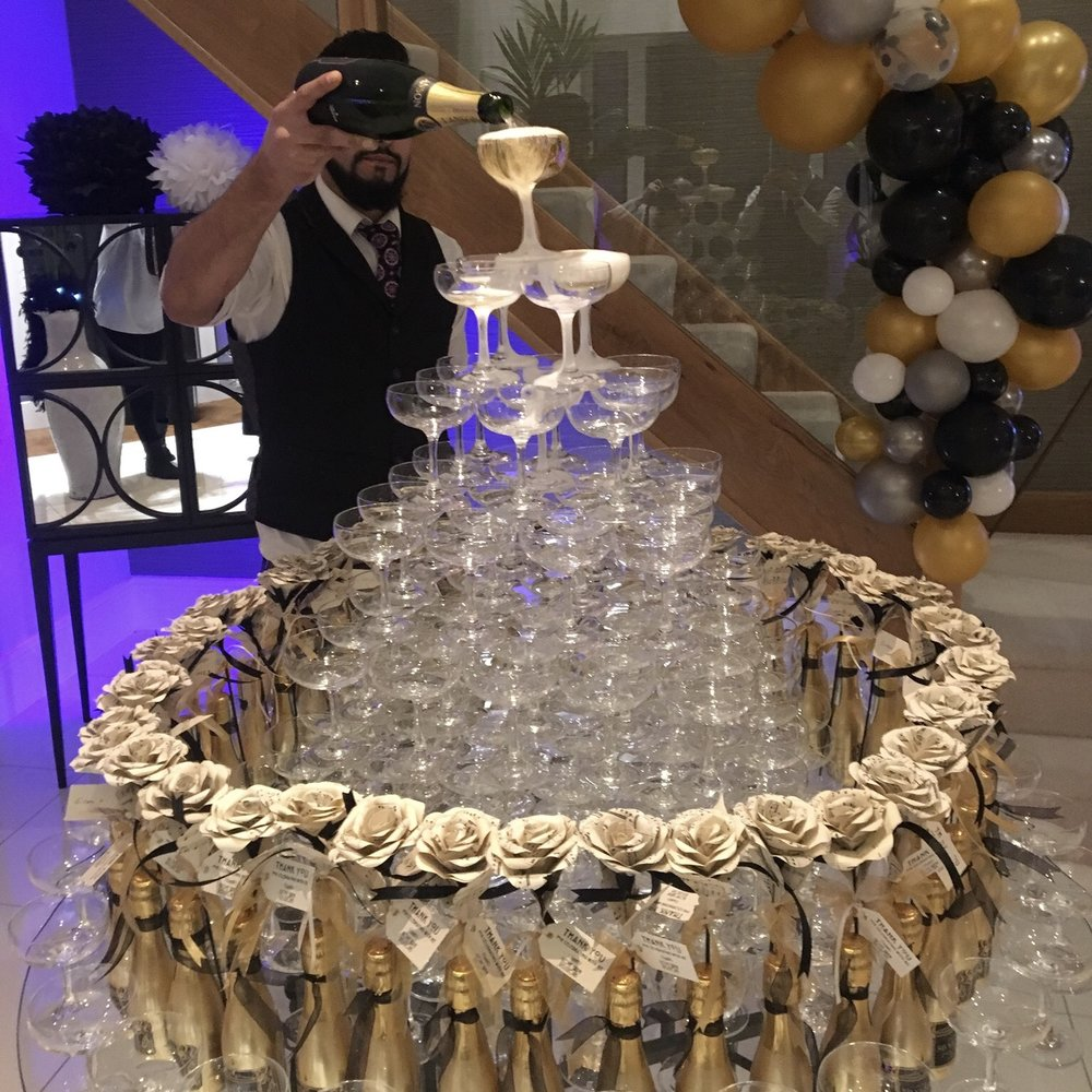 Champagne tower setup for private party