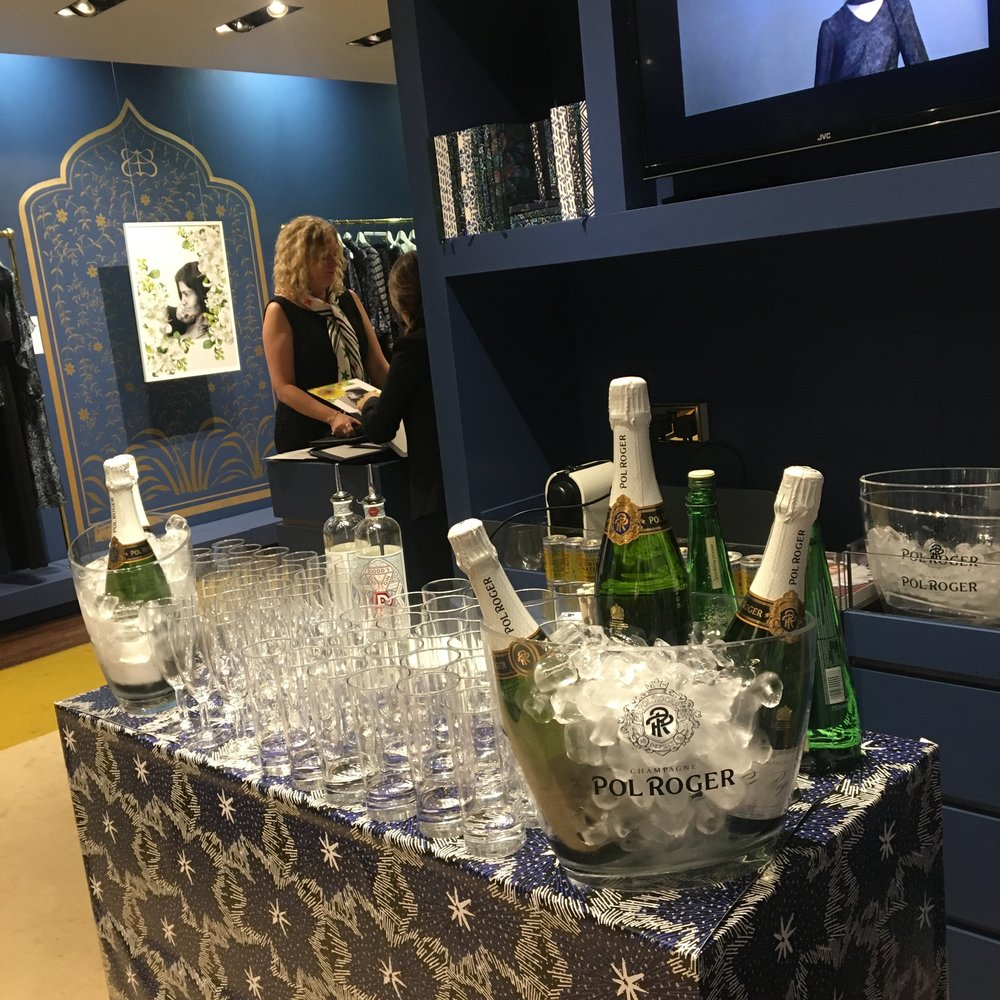 Champagne reception in a boutique in Knightsbridge