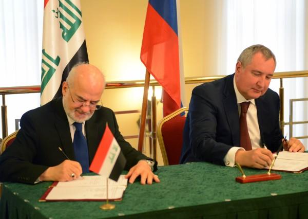 Вице-премьер РФ Дмитрий Рогозин  и глава МИД Ирака Ибрагим аль-Джаафари.jpg