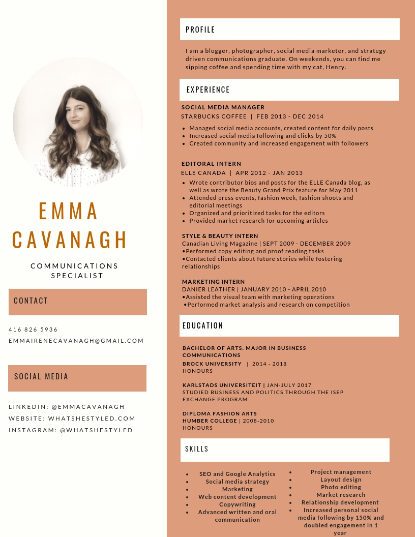Resume - Please contact Emma if you would like a copy emailed to you.