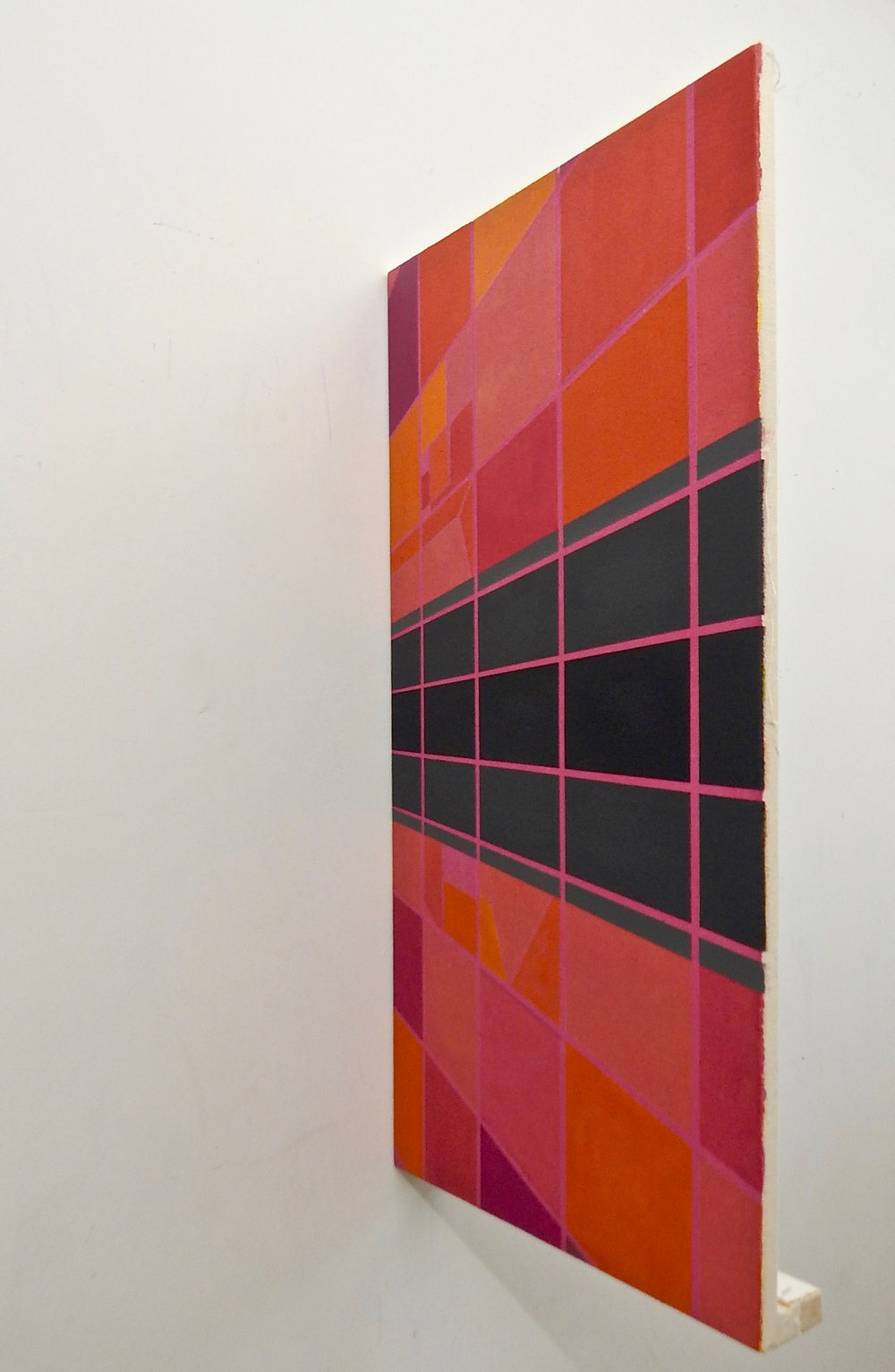 """- Some literally stick out from the rest of the family, a high one here, a low one there, and """"Square Waves"""" hung on edge, its painted surface perpendicular to the wall."""