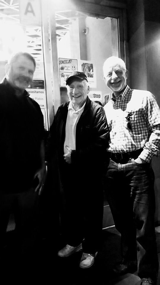 The great American writer, director, comedian Mel Brooks at the age of 90, one night when my husband and I were waiting in line at a ramen place and our friend Diane noticed that Mel Brooks was waiting for his Chinese food order next door.    Left to right: the author; MEL FREAKING BROOKS, the husband