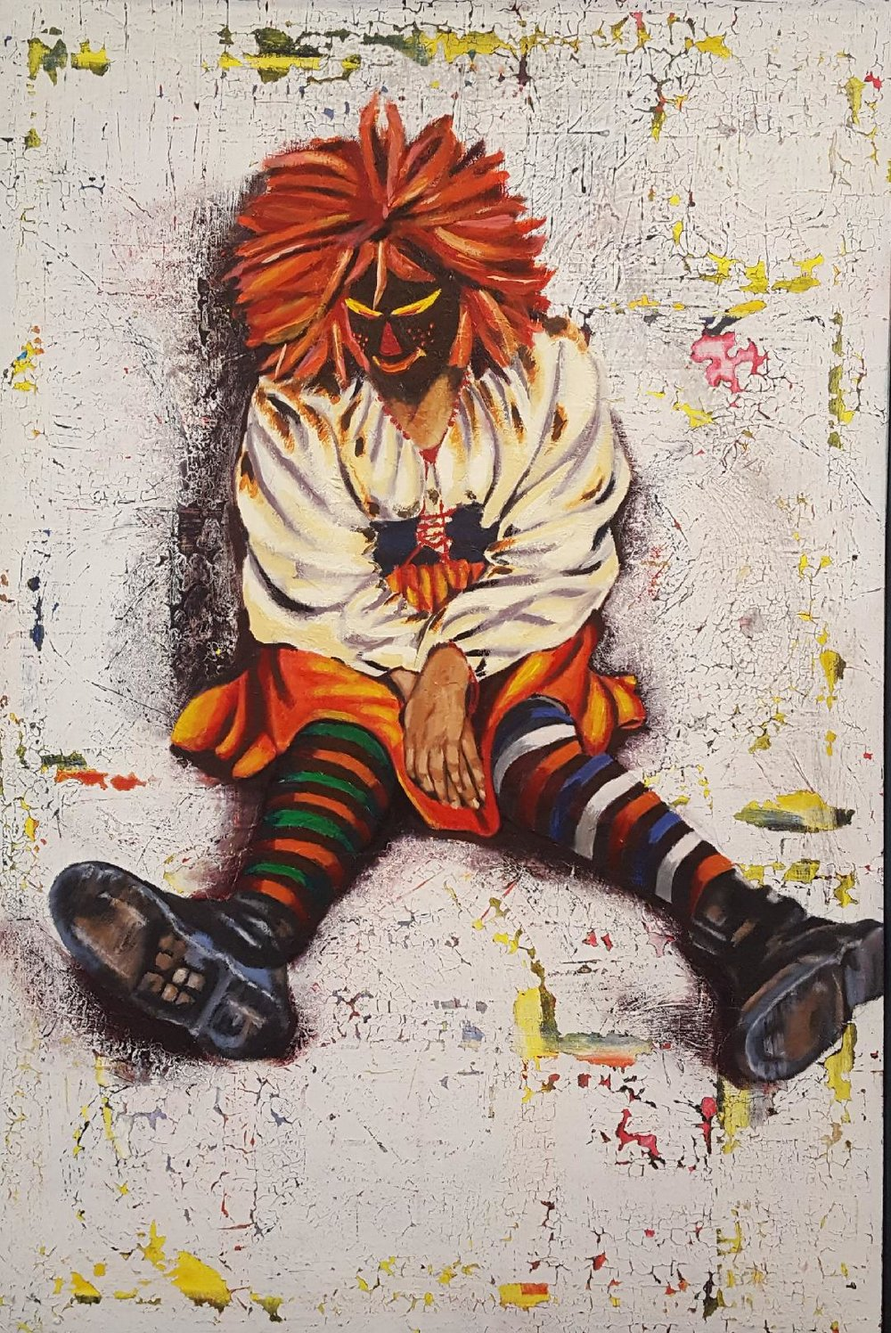 """Raggedy Anne Homeless  Mixed Media on board 30""""x 50"""" 2015 Donald Sawyer"""