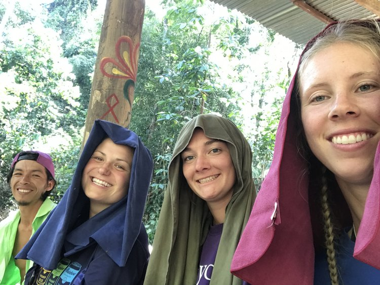 There were a lot of bugs so one day we decided to wear our towels on our heads to provide some relief!