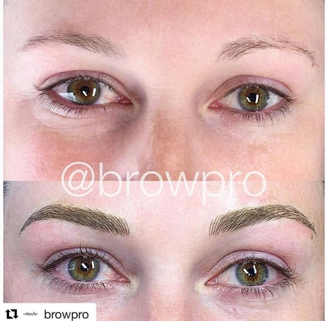 Before and after microblading. Brows done by BrowPro technician Ashley.