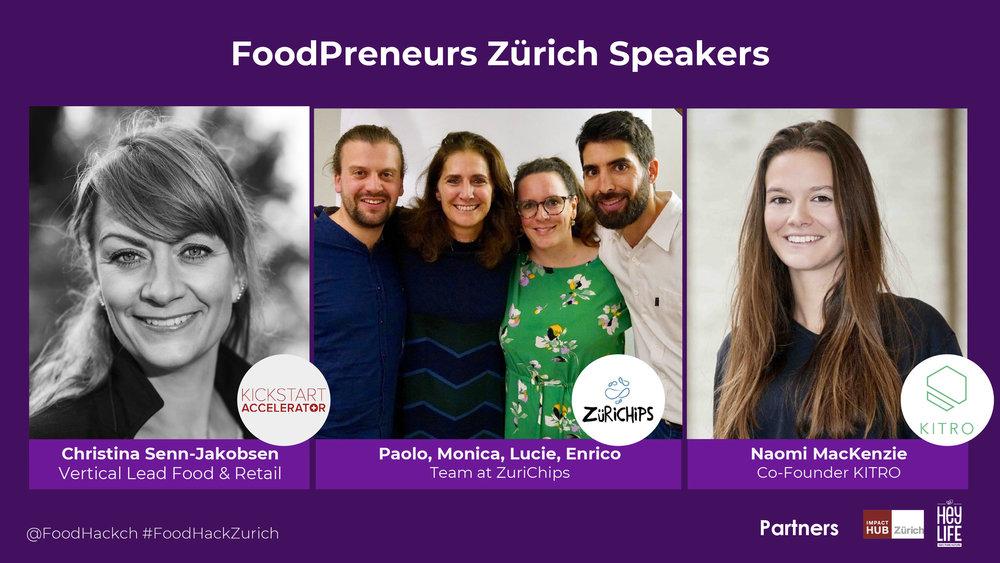Speakers: Christina Senn-Jakobsen (KickStart Accelerator), Paolo, Monic, Lucie, Enrico (ZuriChips), Naomi MacKenzie (KITRO)