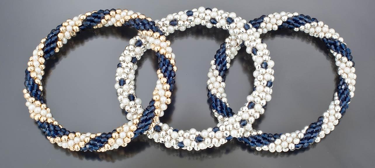3 bracelets silver and blue color