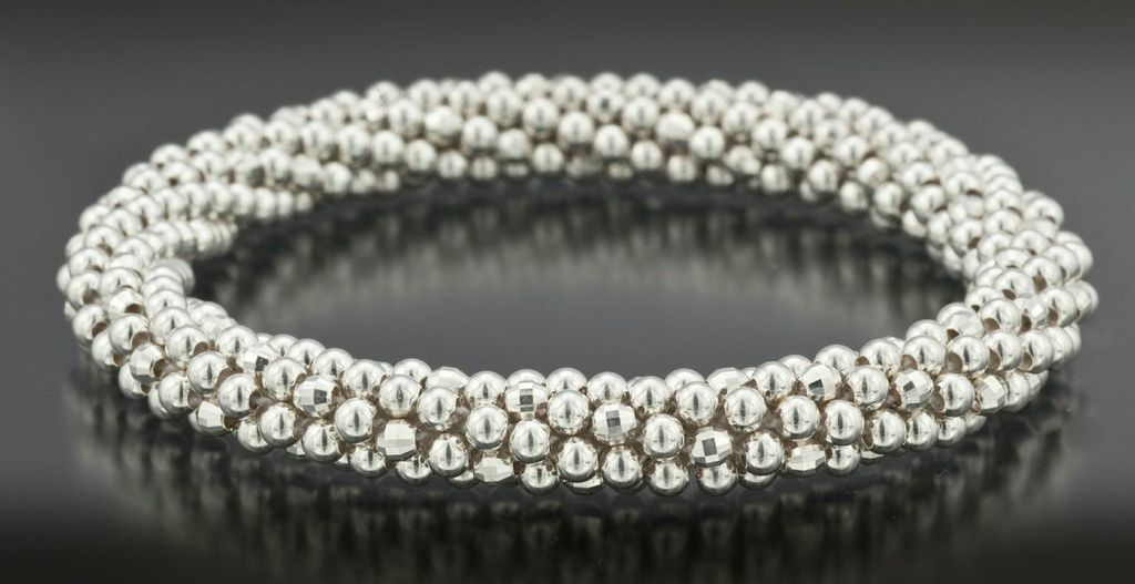 Silver with Mirror Beads