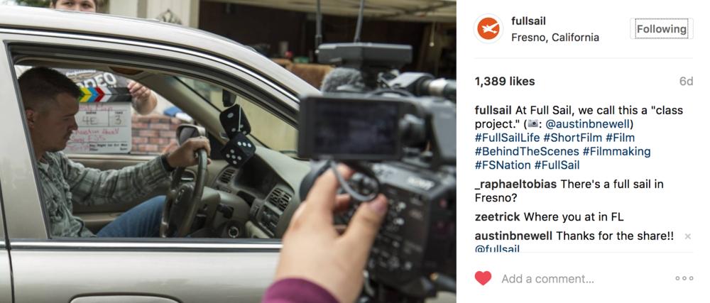 Austin Newell short film BTS photo on Full Sail University Instagram