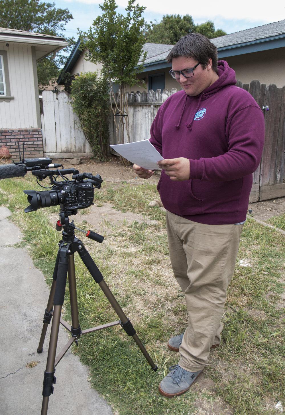 Austin looking at script next to FS5.JPG