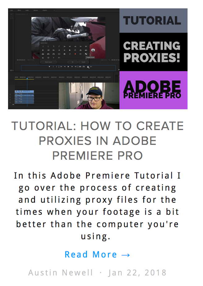 Tutorial Creating Proxies Adobe Premiere