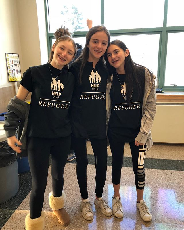 These SFR 8th graders loved meeting refugee families and engaging more with the SFR network at one of our events last night. We can't wait to see what these girls do when they get to high school and beyond! #refugeeswelcome #studentsforrefugees