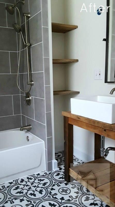 - 12x24 tile in showerCustom wood shelvesCustom wood vanityHandheld shower on slider bar