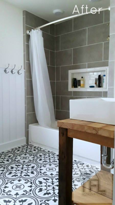 - Recessed shower niche with subway accent tileMosaic tile floorWainscoting