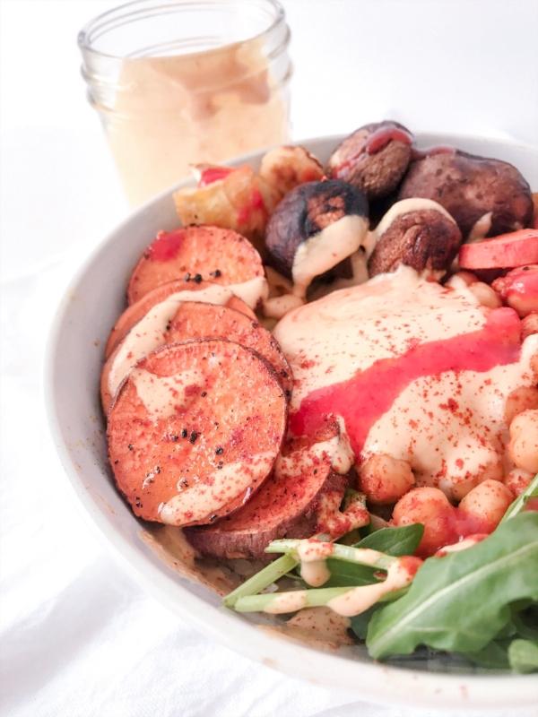 Roasted Veggie Bowl with Sriracha Tahini Dressing