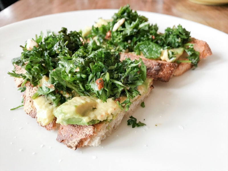 As evidenced by this morning's [avocado parsley on rye] breakfast.