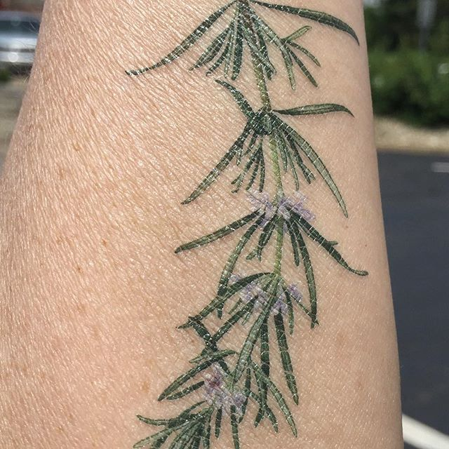 Loving my scented herb tattoo!  Ignore old lady arm and dry skin. 😀#temporarytattoo #herbs