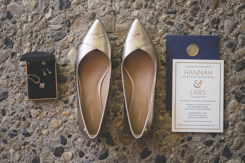 5 Minneapolis home backyard wedding shoes and invitations.jpg