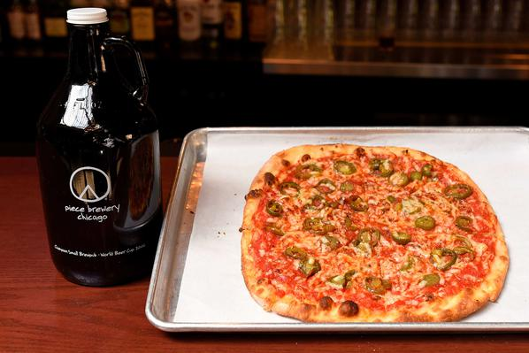 Piece Brewery and Pizzeria - Design a pizza with mashed potatoes AND get a growler of craft beer delivered.