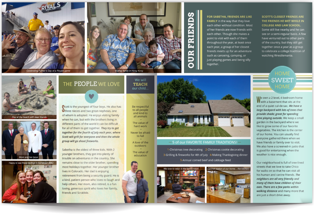 Adoption Profile Book Example Our Chosen Child Design Services Sabetha & Scott