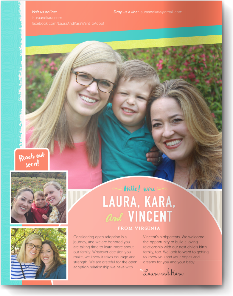 Two Moms Adoption Profile Book Our Chosen Child Design Services Kara & Laura