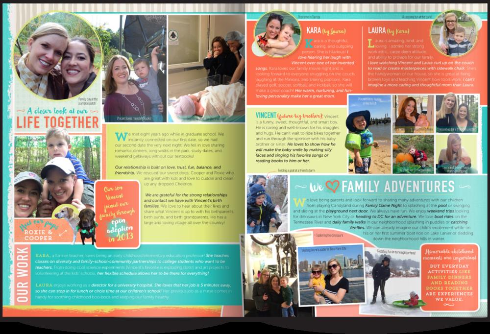 LGBT Adoptive Parent Profile Samples Our Chosen Child Design Services Kara & Laura