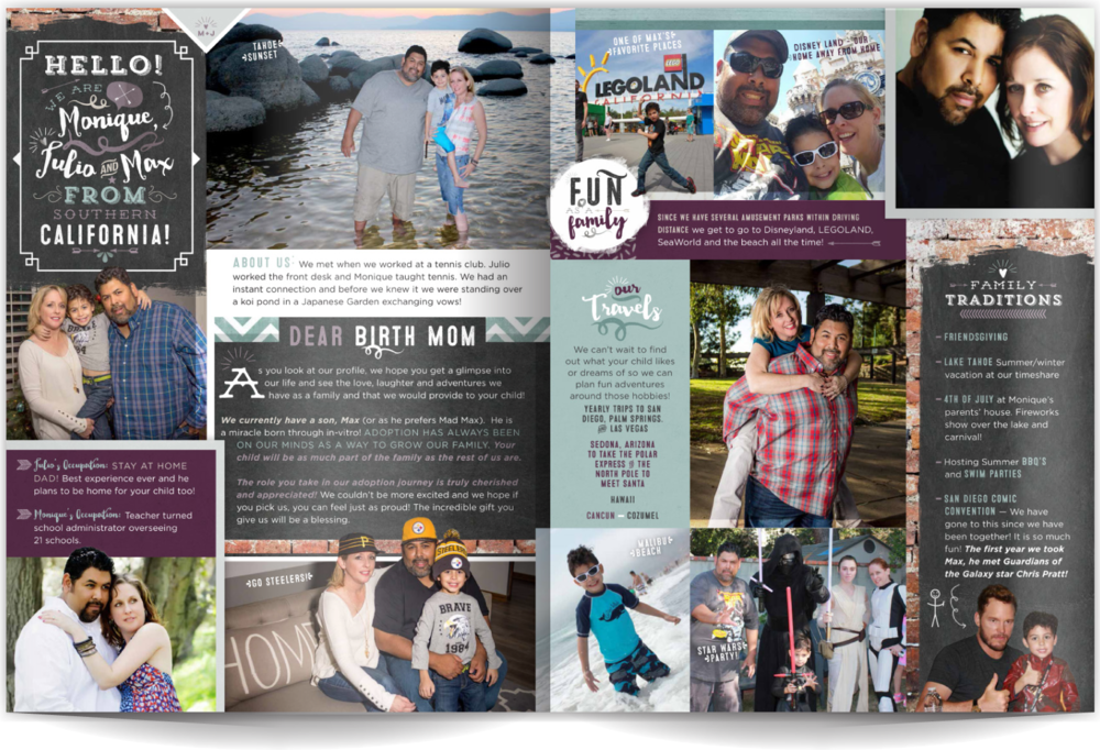 Page Layout Style 10 - For the family with personality PLUS we want to share your style in a way that's authentic and engaging. This layout showcases a lot of photos in a single spread, and the chalkboard typography shows their creative style. Betcha can't stop looking at all the design elements!
