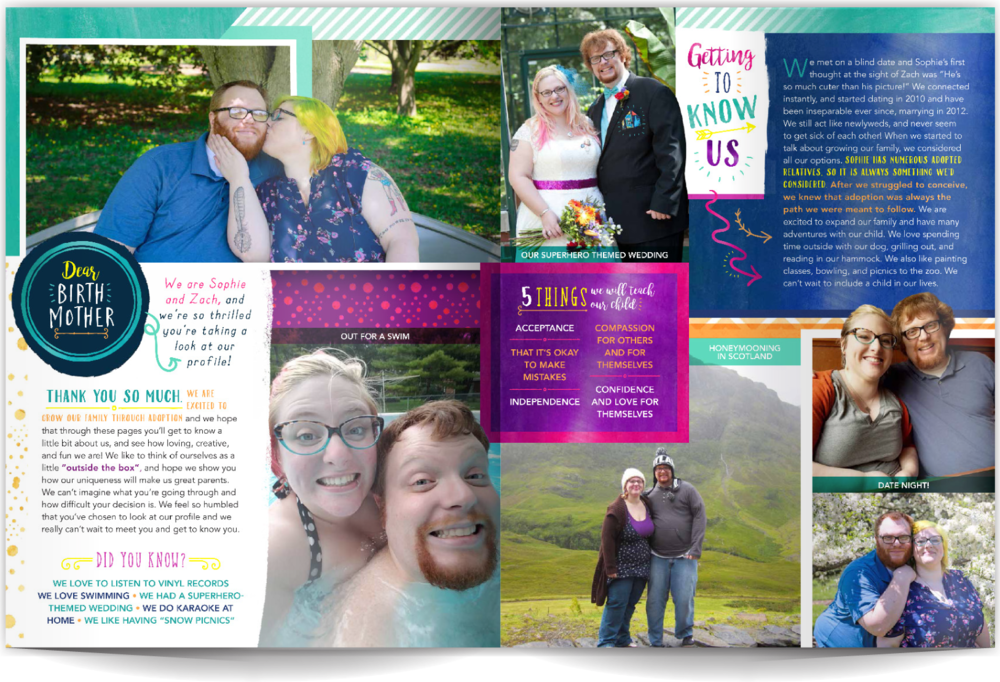 PAGE LAYOUT STYLE 1 - If you want your profile to be a fun as you are then this is a great layout style! We've incorporated hand-rendered sketches and playful type, plus the photos pop thanks to the marvelous, deep colors. Photos with big smiles make this layout fabulous!