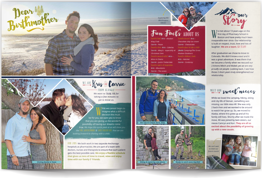 PAGE LAYOUT STYLE 2 - Modern yet playful with a dash of the outdoors- this layout uses a mix of neutral colors with pops of red. The type and design elements showcase this client's nature-loving lifestyle in a fun and contemporary way.